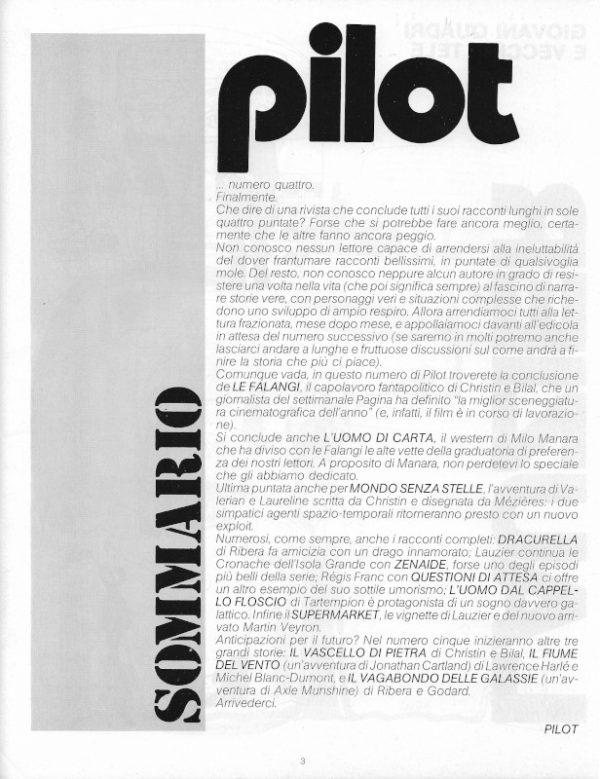 Sommario del n. 4 della rivista Pilot, scritto da Luigi Bernardi