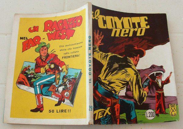 """Copertina del 29 di Tex, """"il coyote nero"""""""
