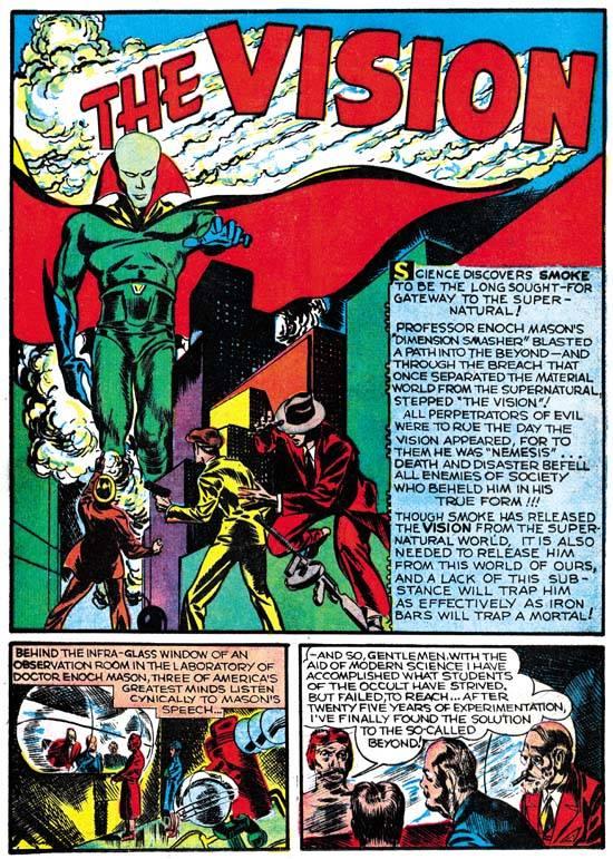 pagina del fumetto the vision - anni 40