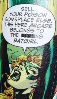 Vignetta di ALL-STAR BATMAN 10 nel quale Frank Miller fa dire a Batgirl la parola FUCKING, mal cancellata da un tratto nero che la lascia ben trasparire.