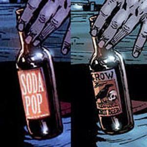 L'albo originale ACTION COMICS 869 del 2008, dove Clark Kent e suo padre in copertina si scolano una bottiglia di birra ciascuno. E l'lbo riedito con le bottiglie etichettate SODA POP (!!!)