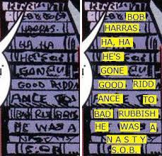 Lo zoom sulla violenta invettiva contro l'ex-editor Bob Harras, nascosta da Al Milgroma tra le coste dei libri su un mobile in uno sfondo.