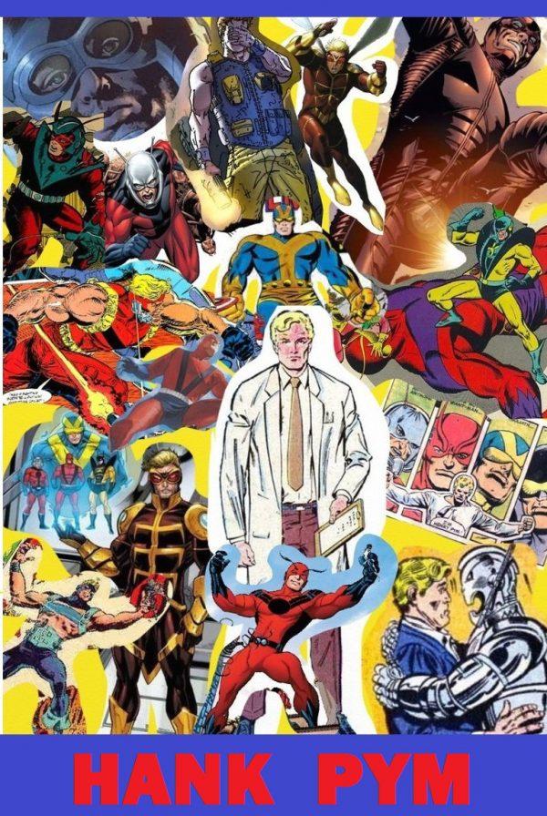 Collage di immagini con l'evoluzione di Hank Pym