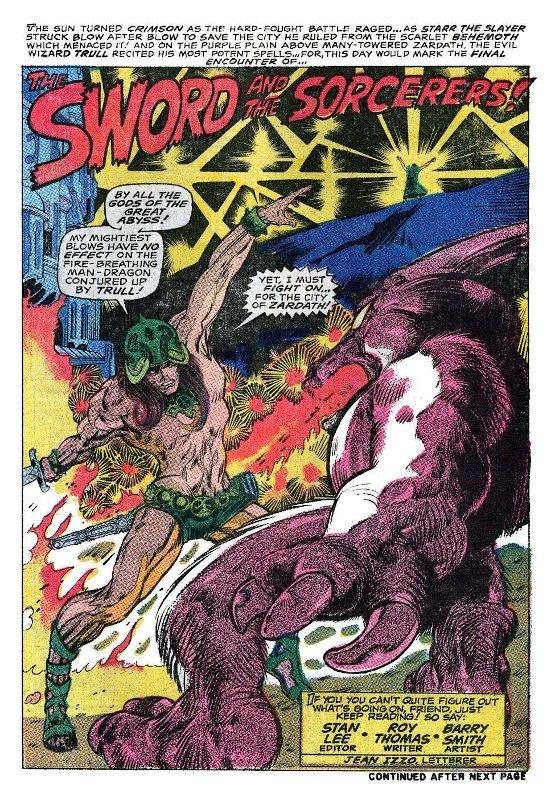 """La pagina di apertura della Storia """"The Sword and the Sorcerers"""" sulla testata antologica CHAMBER OF DARKNESS, con STARR l'UCCISORE ovvero Conan."""