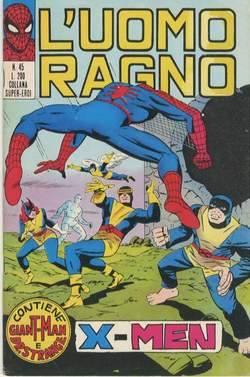 Copertina dell'albo italiano dell'Uomo ragno (EDITRICE CORNO), con un a storia degli X-Men