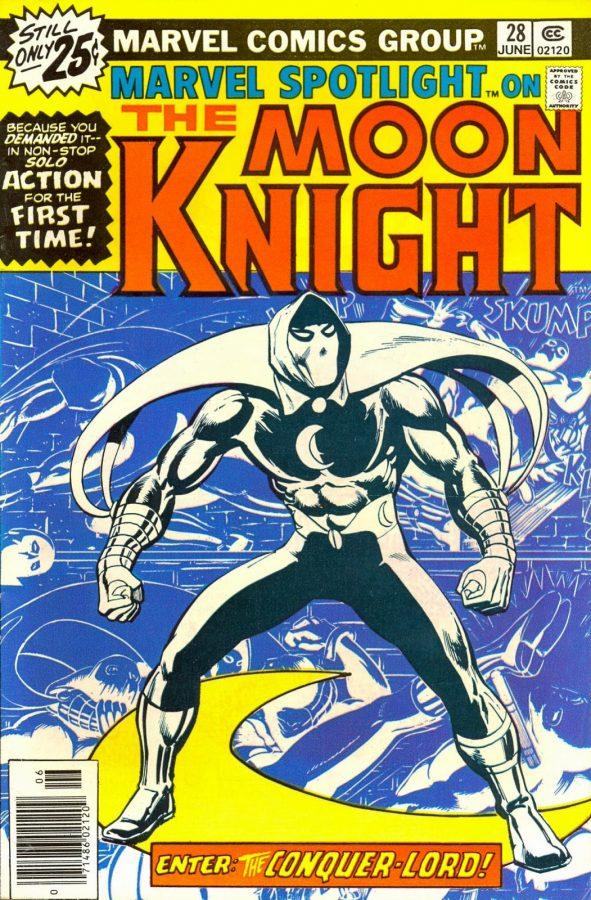 Cover di marvel Spotlight #28, seconda apparizione di Moon Knight