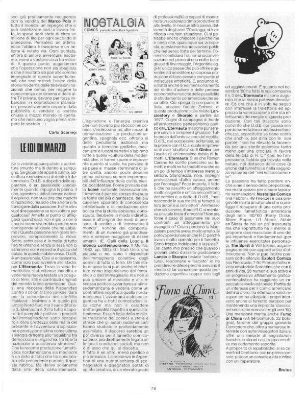 e la pagina 78, del n. 7 di Pilot, con la conclusione dell'articolo di Carlo Scaringi  e l'articolo di Luigi Bernardi, con lo pseudonimo di Brutus.