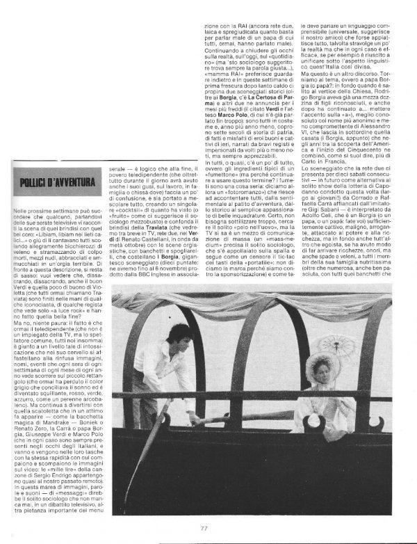 A pag. 77 e del n. 8 di Pilot, rileggiamo un articolo di Carlo Scaringi che si occupava di attualità televisiva