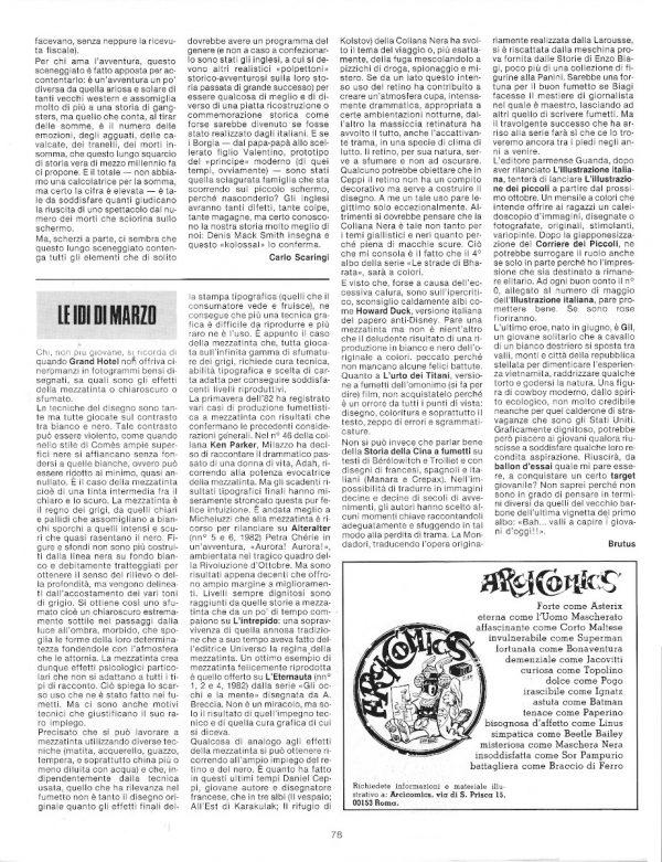 """a pag. 78 del n. 8 di Pilot, ecco """"Le idi di marzo"""" di Brutus-Bernardi, con una panoramica su alcune produzioni fumettistiche."""