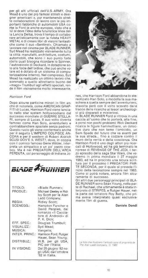 La parte finale dell'approfondimento sul film Blade Runner, dal n. 8 di Pilot (agosto-settembre 1982)