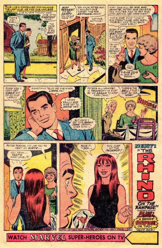 L'intera pagina d ASM #43 con la la prima apparizione di mary jane, nelle ultime due vignette