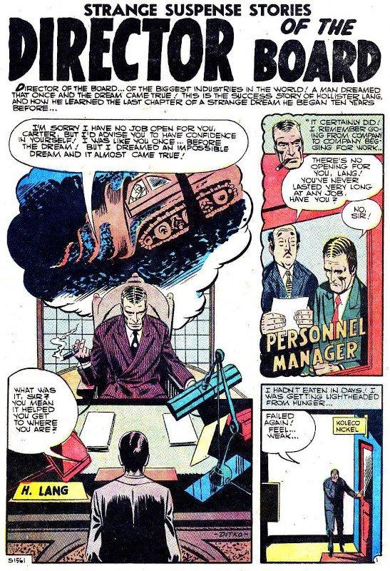 """Prima tavola del racconto intitolato """"Director of the Board"""" estratto dal n. 33 di Stranger Suspence Stories (Charlton)"""