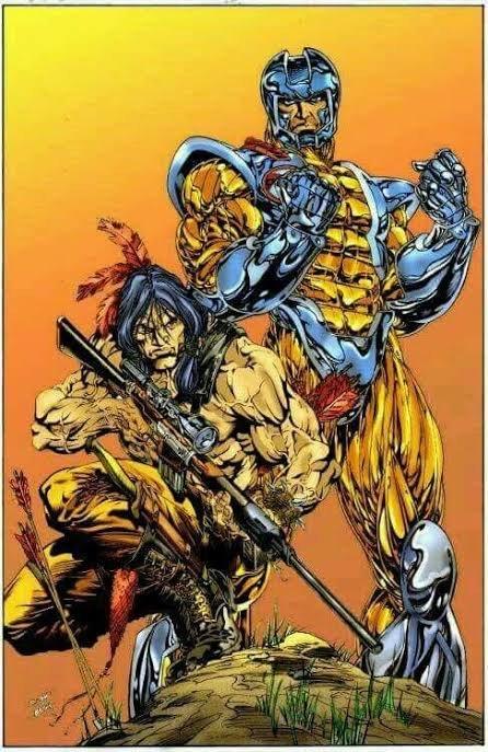 Illustrazione di Bart Sears dedicata a X-O Manowar & Turok