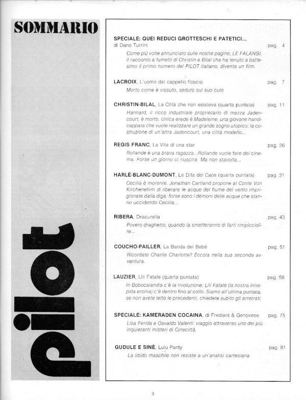 Il sommario del n. 12 della rivista PILOT (EDIZIONE ITALIANA), febbraio 1983