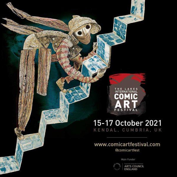 Poster del Lakes International Comic Art Festival 2021, disegnato Dave McKean