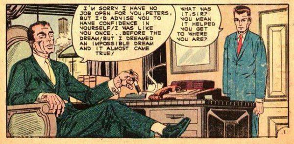 seconda vignetta prima tavola che mette di fronte il proto Osborn ed il proto parker,  (UNUSUAL TALES #27 racconto uscito col titolo A LOOK INTO THE FUTURE.)