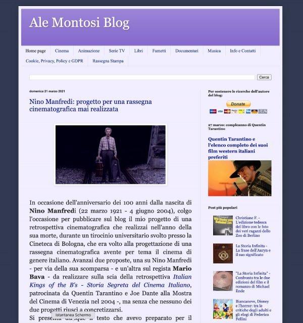 Schermata del blog dello scrittore Alessandro Montosi