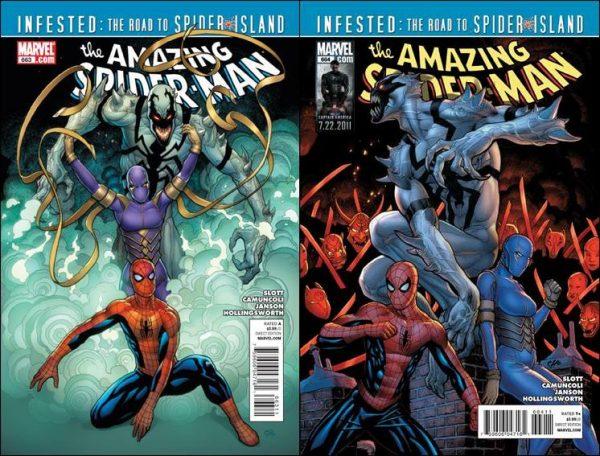 due cover di Amanzing Spiderman_Camuncoli