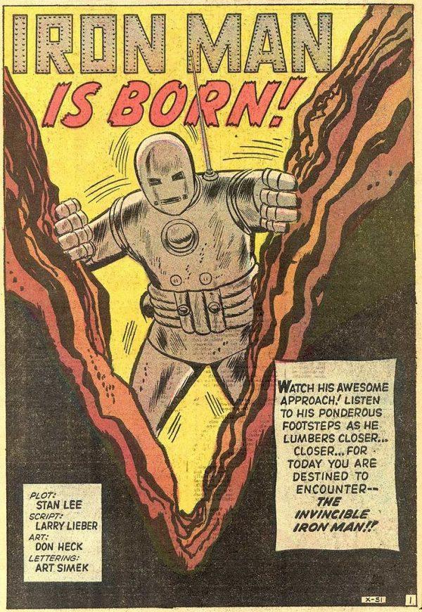 Splash page con l'introduzione di Iron Man, lo script era di Larry Lieber