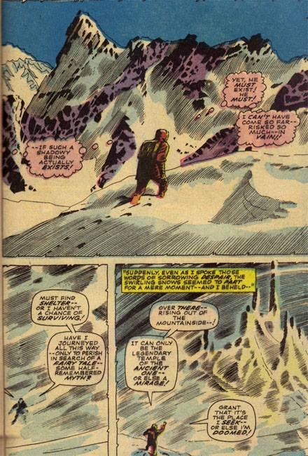 pagina con le origini del doctor strange, simile alla pagina con le origini del doctor doom (tratta da FANTASTIC FOUR #5)