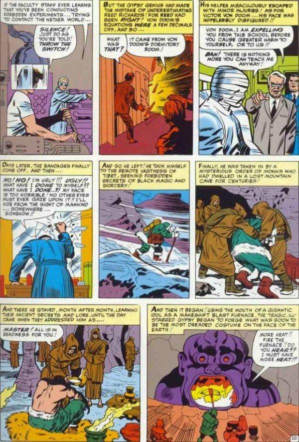 pagina con le origini del doctor doom, tratta da FANTASTIC FOUR #5, simile alla pagina con le origini del doctor droom