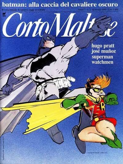 """La rivista della Corto maltese con Batman in copertina, contenente la prima parte di """"The Dark Knight Returns"""""""
