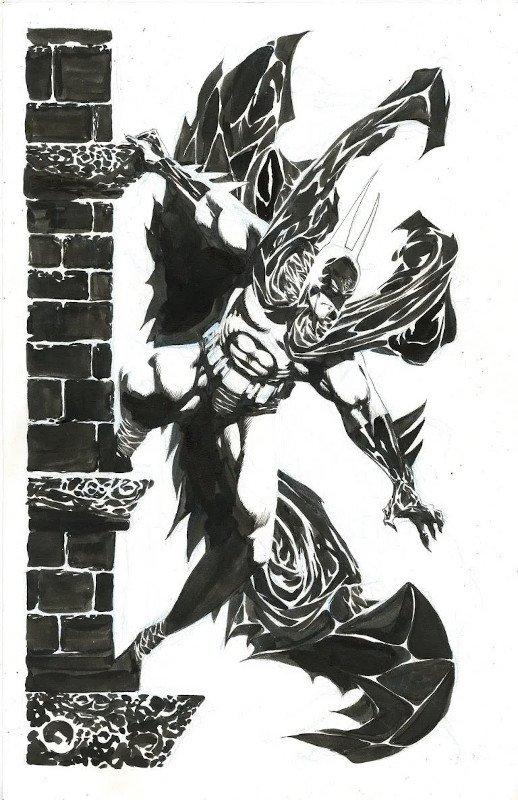 illustrazione dedicat sa Batman in B/N. di Kelley Kones
