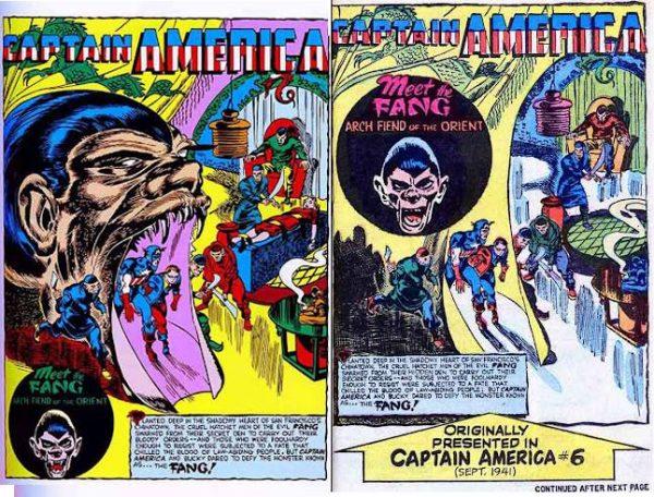 confronto tra le cover di CAPTAIN AMERICA #6 e #7 e le loro ristampe su FANTASY MASTERPIECES (1969).