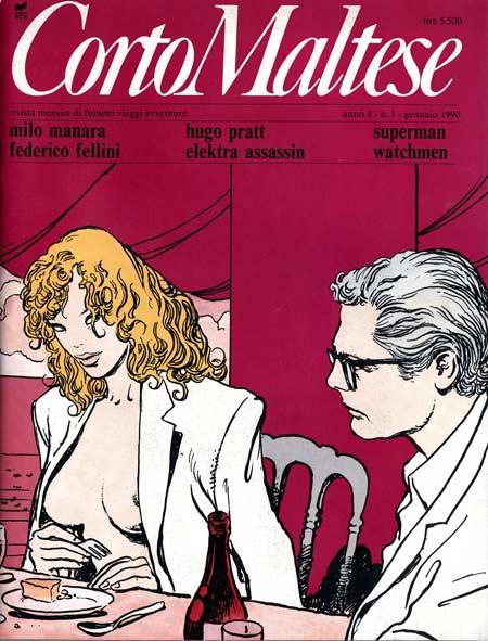 Corto Maltese n. 76 (anno 8 numero 1) del gennaio 1990. In copertina un'immagine di Milo Manara tratta daViaggio a Tulum.