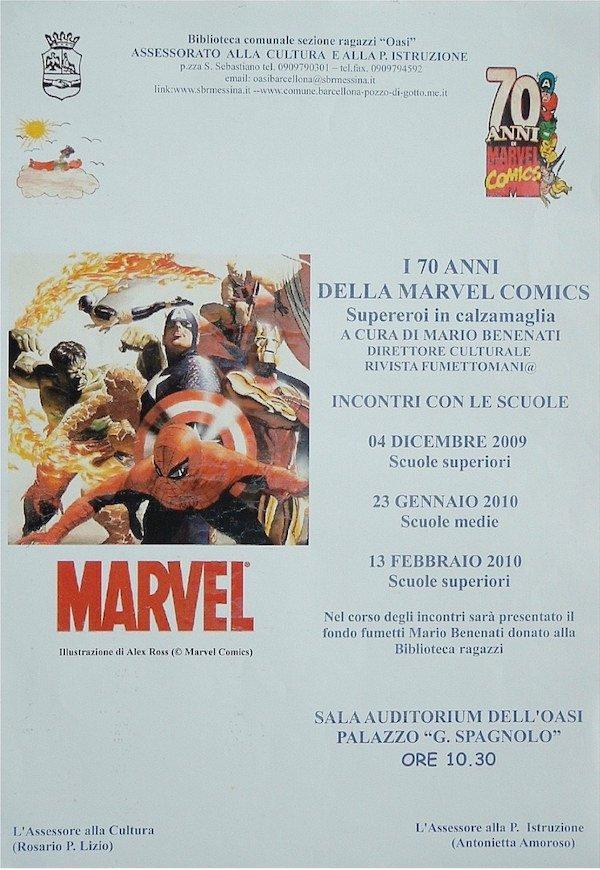 2009-2010_locandina_incontri con gli studenti_70 anni della Marvel comics