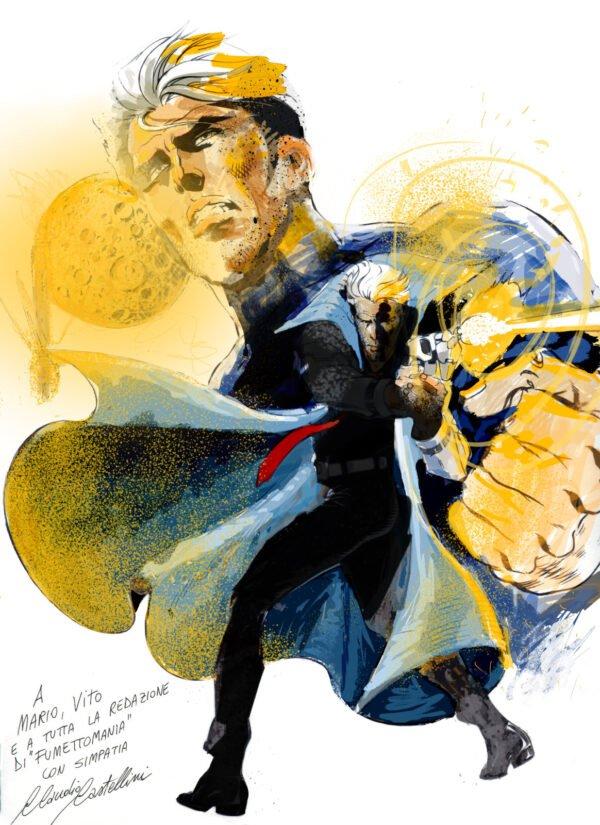 il tributo colorato a Nathan Never ed alla  Copertina del n. 2 della fanzine Fumettomania (maggio 1991). Opera di Giuseppe Orlando