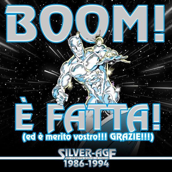 """immagine per festeggiare il goal raggiunto da Crowdfunding per il libro """"1986-1994: La Silver Age del fumetto Marvel in Italia"""""""
