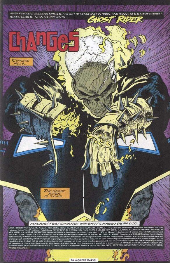 Pagina intera di apertura di una storia del secondo Ghost Rider (Danny Ketch,) disegnata da Mark Texeira