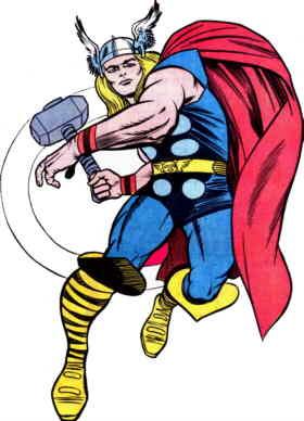 Una classica posa di Thor, nella versione di Jack Kirby
