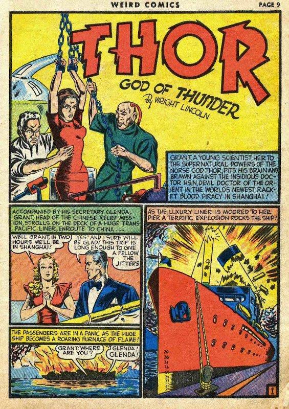 Thor di Lincoln-Rice su WEIRD COMICS nel 1940