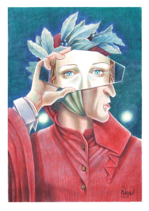 """L'opera di Anna Cercignano -I tre specchi - Par. II, 97-99 , per. la mostra """"Suggestioni.La Divina Commedia illustrata"""". per gentile concessione"""