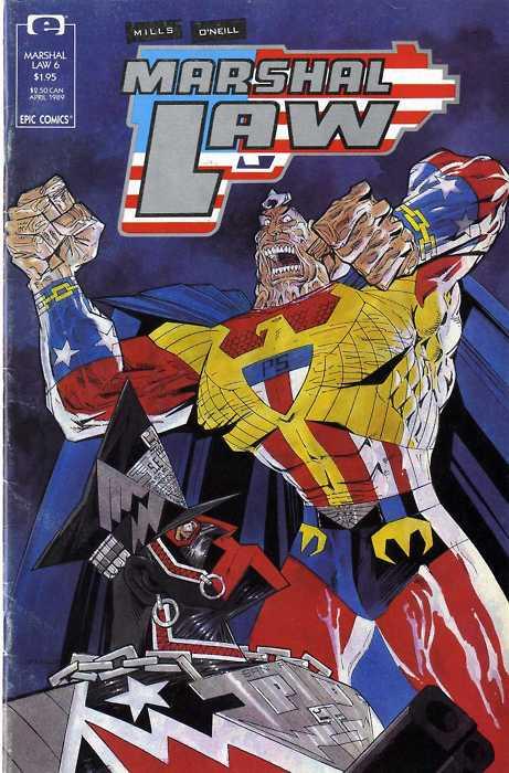 """Cover dell'albo 6 di """"Marshall Law"""" di Pat Mills e Kevin O'Neil (Epice- MArvel, 1990)"""