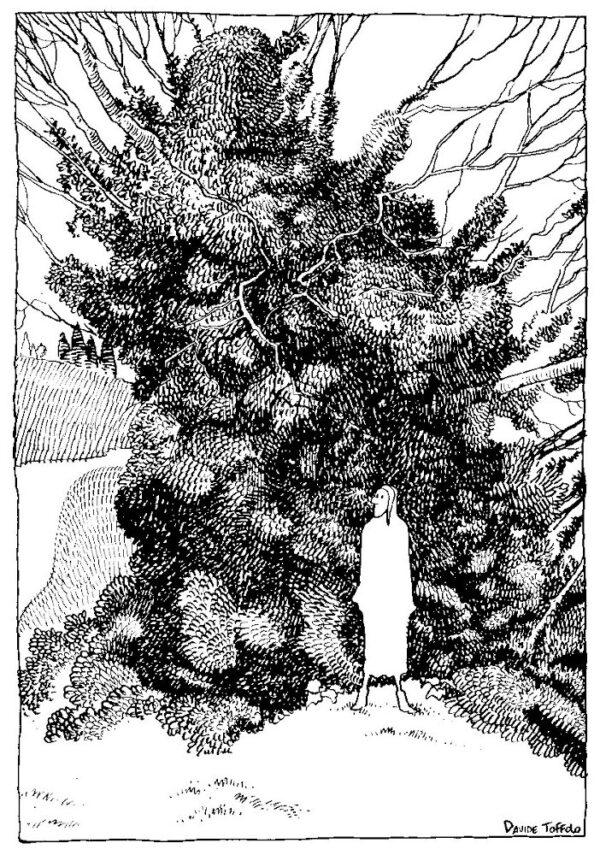 """L'opera di Toffolo: La prima terzina - Inf. I, 1-3 , la mostra """"Suggestioni.La Divina Commedia illustrata"""". per gentile concessione"""