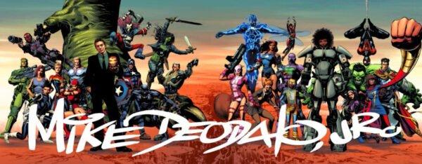 banner di Mike Deodato Jr con tanti personaggi Marvel