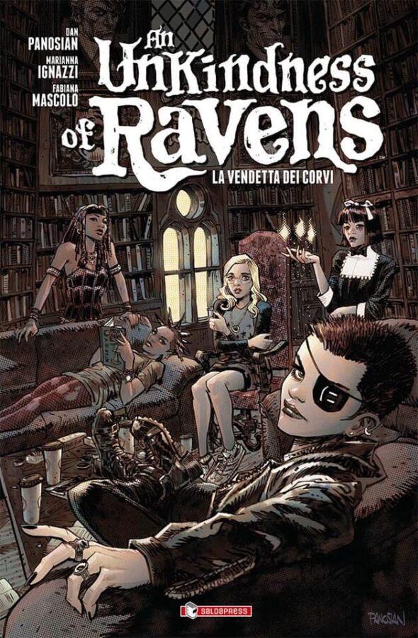copertina del nuovo volume AN UNKINDNESS OF RAVENS per Saldapress.