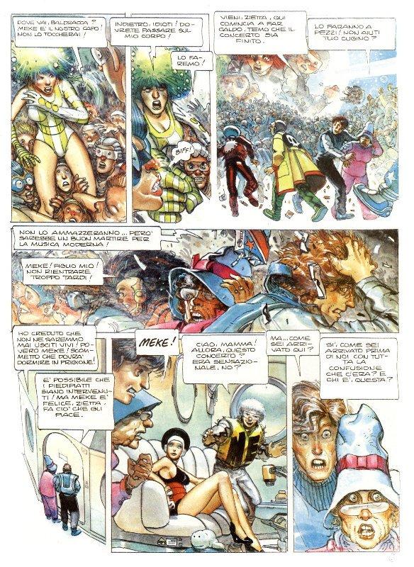 Pagina estratta dall'edizione italiana del secondo volume delle avventure futuriste di Lea Roa di Juan Gimenez.