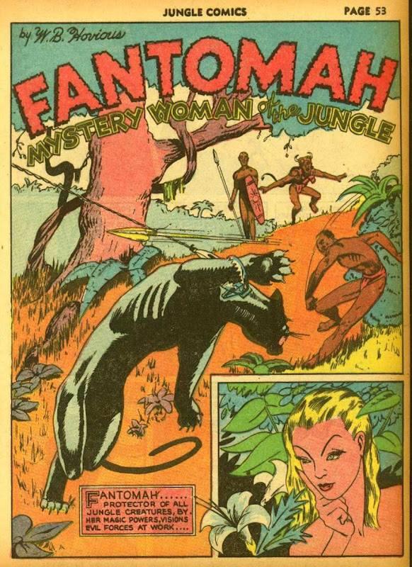 pagina di apertura di Fantomah dall'albo USA JUNGLE COMICS