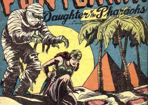 vignetta dopo la trasformazione di fantomah in principessa erede del retaggio dei Faraoni egizi (da JUNGLE COMICS #27)