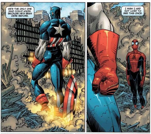 due vignette dalla nuova storia del 9/11 (titolo THE FOUR FIVE di Spiderman)
