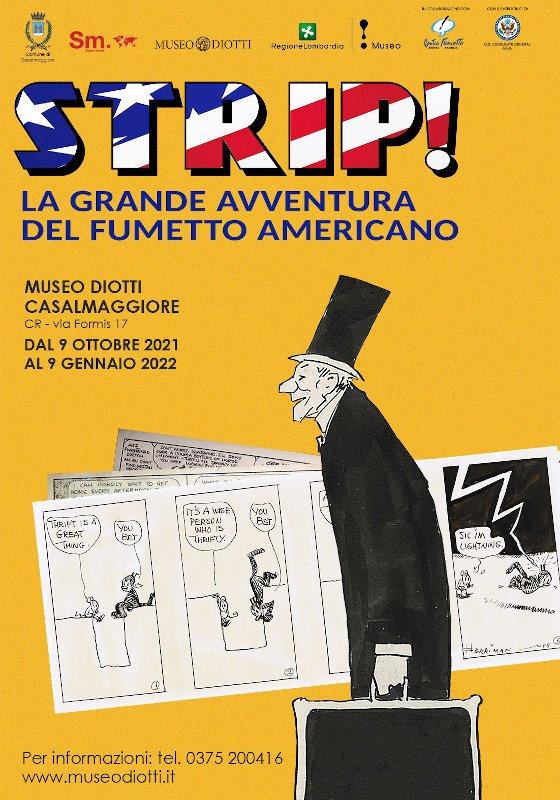 """manifesto della mostra """"STRIP! LA GRANDE AVVENTURA DEL FUMETTO AMERICANO"""""""