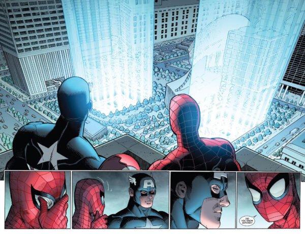 pagina estratta dalla nuova storia del 9/11 (titolo THE FOUR FIVE di Spiderman)