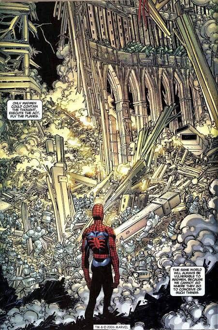 pagina terribile e simbolica dell'originaria storie del 9/11 con Spiderman