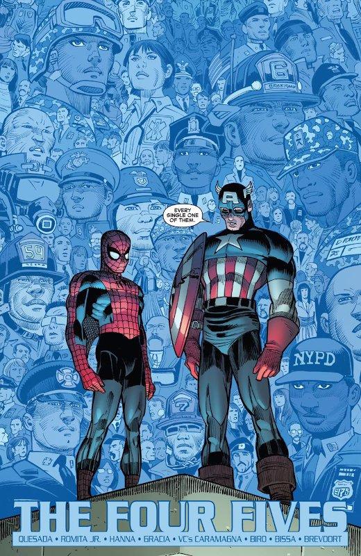 prima pagina della nuova storia del 9/11 (titolo THE FOUR FIVE di Spiderman)