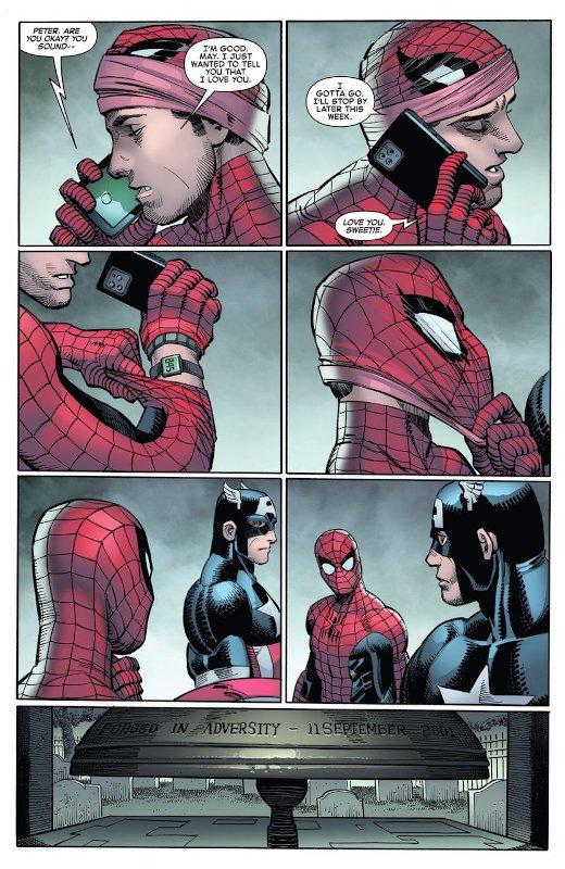 un'altra pagina estratta della nuova storia del 9/11 (titolo THE FOUR FIVE di Spiderman)